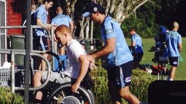 Surprise visit: Alex McKinnon was at the Blues' camp in Coffs Harbour.