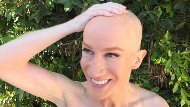 Kathy Griffin after she shaved her head to support her sister who has cancer.