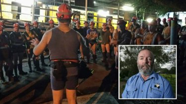 Appin miners at the now-controversial undie protest in early March. Inset: Dave McLachlan.