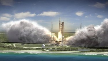 """""""We're ready to move forward,"""" says Frank McCall, Boeing's Space Launch System deputy program manager. """"This program has the potential to be inspiring for generations."""" Space Launch System at liftoff is depicted in this rendering."""