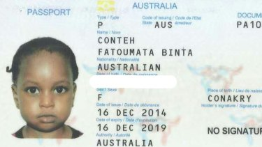 Australian child Fatoumata Binta.