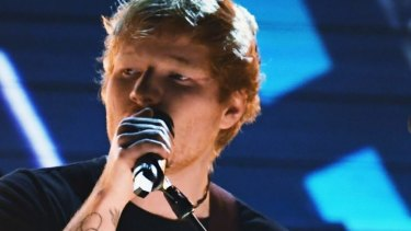 Ed Sheeran performs <i>Shape of You</i> at the Grammys earlier this week.