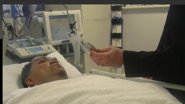 A screen shot of a police bedside interview with Adeel Khan in Royal Prince Alfred Hospital.