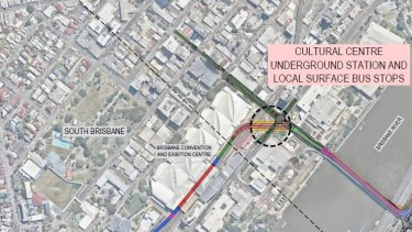 The proposed location of the Brisbane Metro's South Brisbane station, which will be seven metres underground.