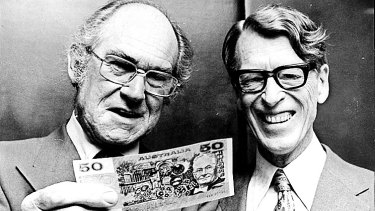 Gordon Andrews, left, designer of the  $50 note with J. Bartley, of the Reserve Bank.
