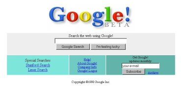 Google start page, 1998.