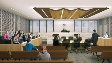 Windows in the courtrooms allow users to 'get some context of light and the passing clouds', says architect Mark Wilde.