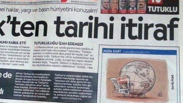 David Pope's cartoon on the front page of Cumhuriyet, in the panel where the work of the paper's cartoonist Musa Kart should appear.