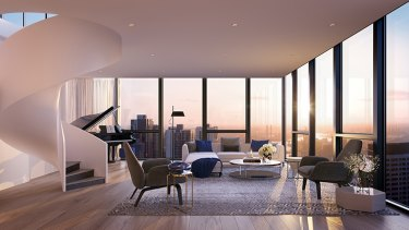 A render of one of the apartments in the 48-level project on the corner of Queen and Latrobe Streets.