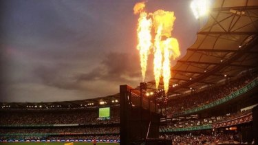 Fireworks at the Gabba during a BBL clash.