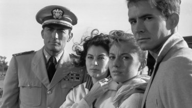 Gregory Peck (left), Ava Gardner,Donna Anderson and Anthony Perkins. Anderson, the last surviving member of the cast, says 'the Australians were just incredibly nice'.
