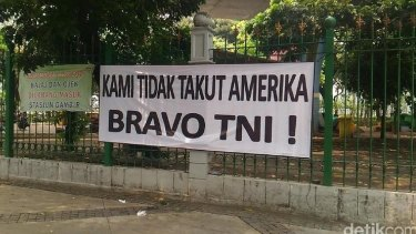 A banner in Jakarta proclaiming 'We are not afraid of America. Bravo National Armed Forces'. It was posted following the US decision to bar General Gatot Nurmantyo from entering the US.