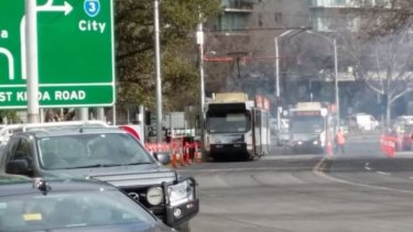 The scene of the tram fire.
