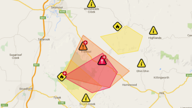 An Emergency Warning has been issued for the Tallarook area, south-east of Seymour.