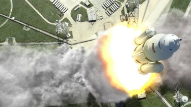 Space Launch System, a NASA rocket designed by Boeing that will be intended for deep-space exploration to near-Earth asteroids, the moon and even Mars, is depicted in this rendering. The first flight test of the $2.99-billion rocket is scheduled for 2017.