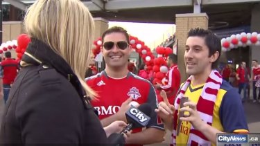 Shauna Hunt confronts her hecklers at the Toronto FC game.