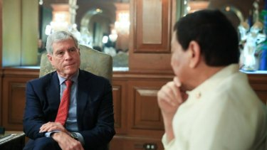 Australia's top overseas spy chief meeting President Rodrigo Duterte in the presidential palace in Manila.