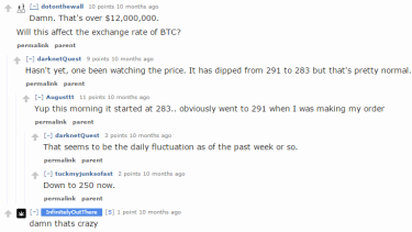 Reddit users discuss the fluctuating Bitcoin price after criminals running the Evolution drug marketplace ran off with everyone's money.
