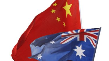The flags of China and Australia.
