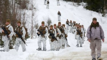 US Marines assigned somewhere in the vast training area in Rena, Norway,