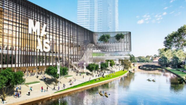 Artist's impression of the proposed new Powerhouse Museum on the banks of the Parramatta River.