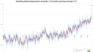 Monthly global temperatures anomaly.