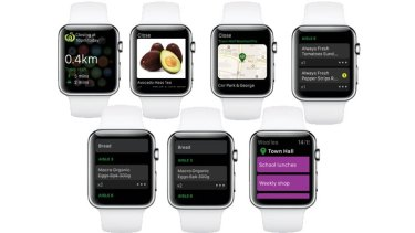 How Woolworths' app will look on the Apple Watch.