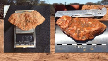The nugget weighs in at more than half a kilo and measures ten centimetres across.
