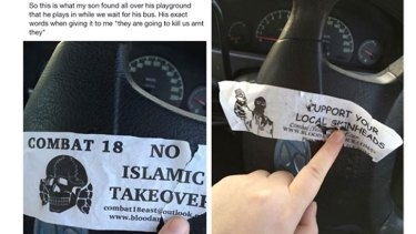 Some of the anti-Islam stickers found at the Heidelberg West playground.