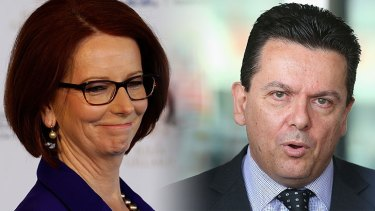 """I just wish the defamatory material was never published in the first place,"" Nick Xenophon said of the allegations in Julia Gillard's book."