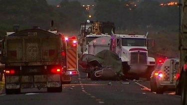 The scene of the fatal crash on Hopkins Road at Truganina.