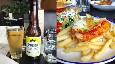 The Gluten free parmi foes great with a beer.