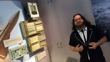 Two of the coolest things in the Computer History Museum: an Apollo guidance computer and museum curator/tour guide Chris Garcia.