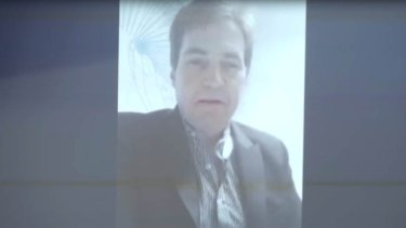 Craig Wright speaking via Skype to an audience at the Bitcoin Investor Conference in Las Vegas in 2015.