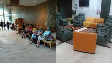 (Left) Patients who contacted WAtoday described the 'corridor' waiting area as cold, understaffed and chaotic. Now, (right) the area has more suitable furniture for seriously ill patients.