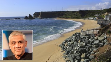 The rocky outcrop called Shark Tooth or the Witch's Hat overlooking Martins Beach, which has been blocked by billionaire and a co-founder of Sun Microsystems Vinod Khosla (inset).