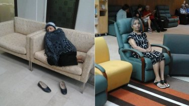 (Left) Doris Samuels waiting for treatment before the upgrades and (right) in a new chair which enables patients to recline or lie down.