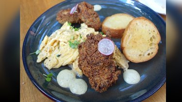 Cecchi's fried chicken with truffled scrambled eggs ($18).