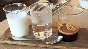 Jamila Rizvi's deconstructed coffee from The Kitchen, Weylandts in Abbotsford.