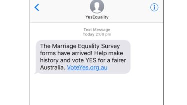 The text message sent to thousands of Australians as part of the 'yes' campaign on marriage equality.