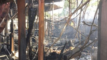 Inside Wesley College's fire-damaged classrooms.