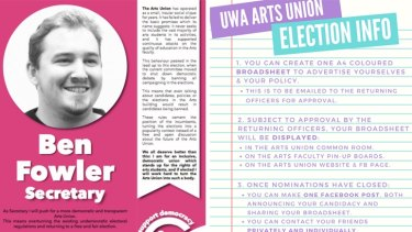 Candidates were restricted to producing a single poster to promote themselves under new rules adopted by the UWA Arts Union.