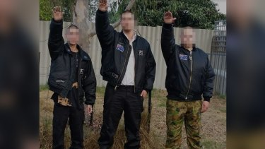 A photograph from the Aryan  Nations Australia website. It has since been removed.