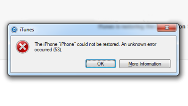 """""""The iPhone could not be restored"""": Apple's """"error 53"""" alert."""