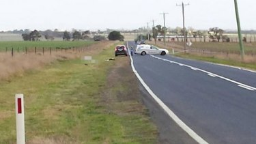 The scene of the fatal hit and run on Geelong-Ballan Road, in Anakie.