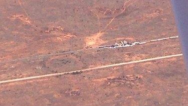 An aerial photo of the train derailment.