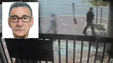 Chilling vision of the man accused of the crime  walking with two children caught on a security camera along Angove Street in North Perth.