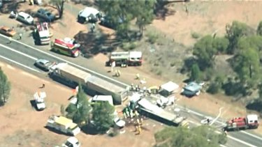 'Absolute carnage': It's understood five cars and a B-double were stationary when they were hit by a prime mover.