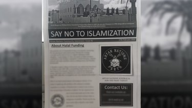 The neo-Nazi newsletter that popped up in letterbox at a Forrestfield home over the weekend.