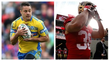 Changing frame: Jarryd Hayne in Eels colours in 2014 and during his NFL sojourn.